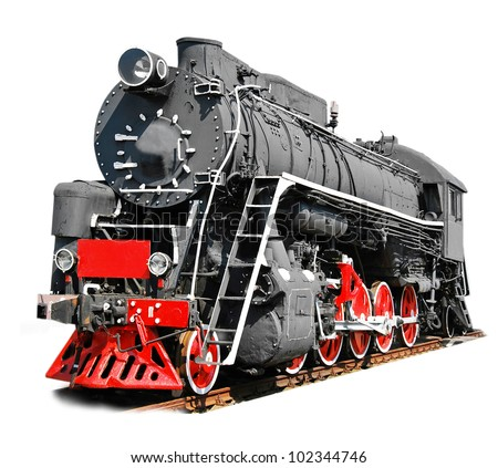 Old steam locomotive isolated on white background - stock photo