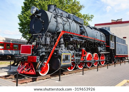 Old steam locomotive. Klaipeda city, Lithuania. - stock photo
