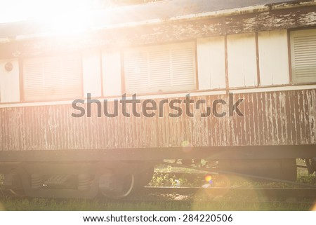Old Steam train after the sunset.  - stock photo