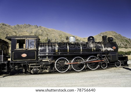 old steam train, classic view - stock photo