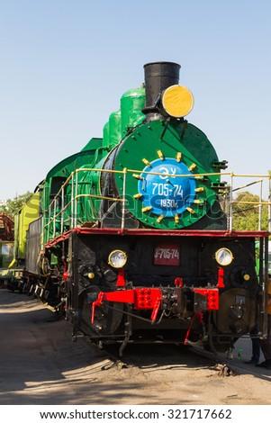 Old steam train in Tashkent railway museum, Uzbekistan, Central Asia - stock photo