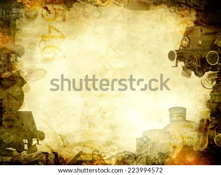 old steam trains sepia background frame  - stock photo