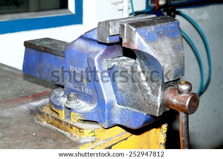 Old steel clamp - stock photo