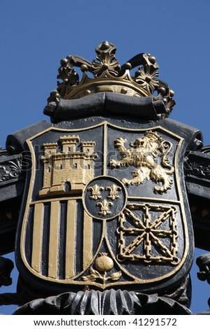 Old steel decorative emblem - Coat of Arms of Madrid, Spain