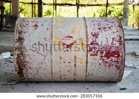 Old steel drum - stock photo
