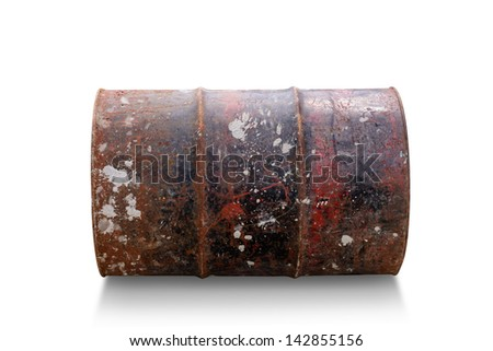 Old steel drum isolated on white background - stock photo