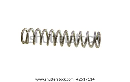 Old steel spring isolated on a white background - stock photo