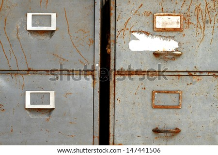 Old Steel tray cabinet - stock photo
