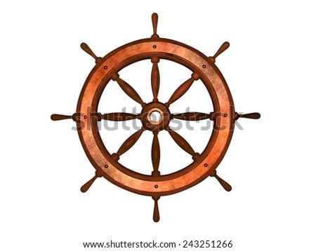old steering wheel - stock photo