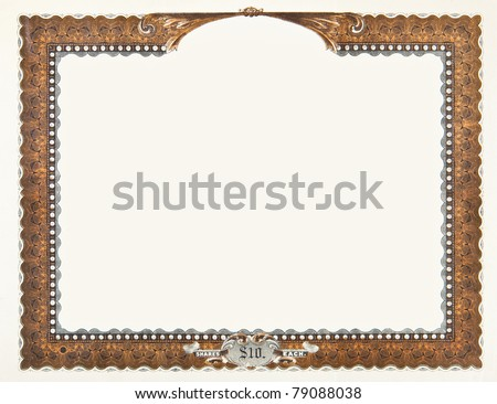 Old stock certificate boarder.  The original content of the certificate has been removed, so just the boarder remains. - stock photo