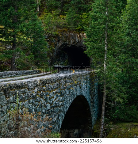 Old stone bridge leading into a mountain tunnel - stock photo