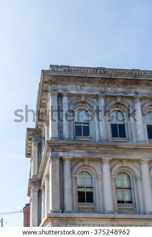 Old Stone Building with Arched Windows in Portland - stock photo