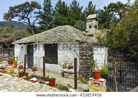 Old stone house in village of Aliki,Thassos island,  East Macedonia and Thrace, Greece  - stock photo