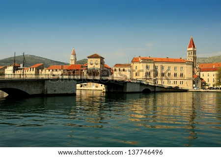 Old stone houses in town Trogir in Dalmatia, Split. Under UNESCO protection. - stock photo
