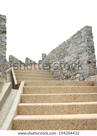 Old stone staircase isolated on a white background, clipping path - stock photo