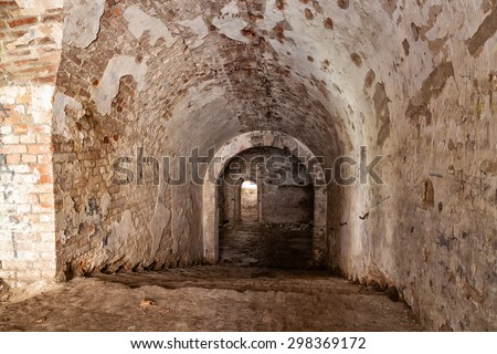 Old stone staircase leads to  dungeon. Casemates of ruins Fort Tarakanovskiy. Dubno. Ukraine.