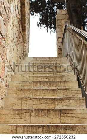 Old stone steps in Jerusalem - stock photo
