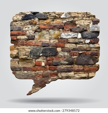 Old stone wall speak bubble. Contain the Clipping Path - stock photo