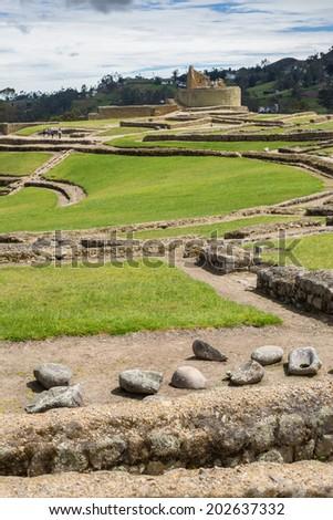 Old stones at the ruins of Ingapirca, Ecuador - stock photo