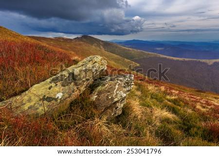 Old stones on mountains meadow - stock photo