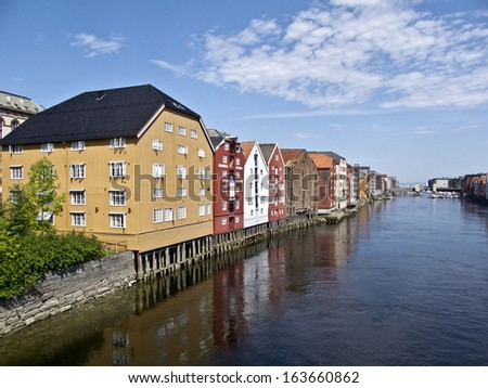 Old Storehouses in Trondheim ,Norway,  - stock photo