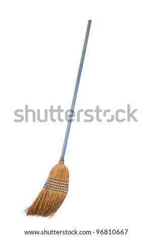 Old straw broom ready to sweep isolated on white background - stock photo