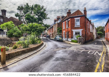 old street in living area in Canterbury, England