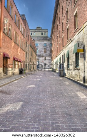 Old street in Montreal in summer, hdr. - stock photo