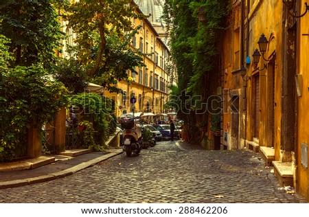 Old street in Rome, Italy - stock photo
