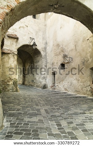 Old Street in Sighisoara City - stock photo