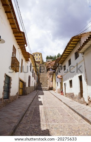 Old street in the center of Cusco, Peru - stock photo
