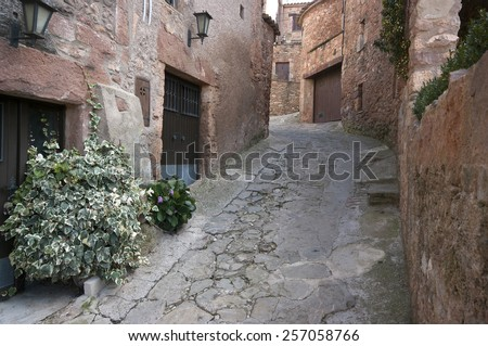 Old street in the medieval village of  Mura.Catalonia.Spain - stock photo