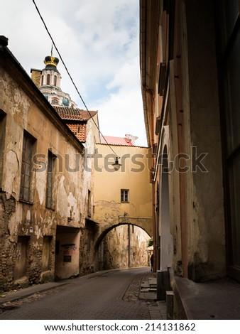 Old street in  Vilnius - stock photo