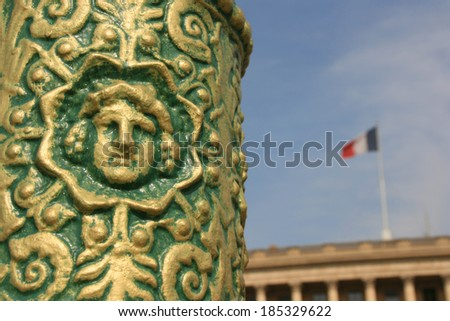 Old street lamp in concorde square, Paris, France. - stock photo