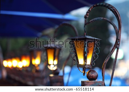 Old street lamps in Yalta, Ukraine - stock photo