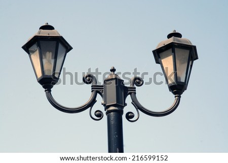 Old street light. Vintage street light. - stock photo