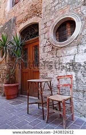 old street of chania, greece - stock photo