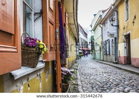 Old Street of Tallinn Estonia - stock photo