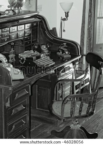 old study area in black and white - stock photo