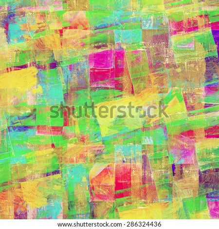 Old-style background, aging texture. With different color patterns: yellow (beige); blue; green; purple (violet) - stock photo
