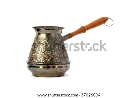 Old style coffee pot isolated - stock photo