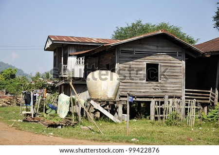 Old Style Country Vintage House Thailand Retro - stock photo