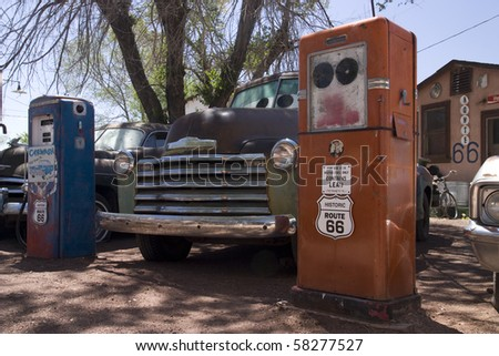 Old style Gas station on the famous route 66 road in USA - stock photo