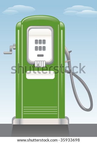 Old style gasoline pump. - stock photo