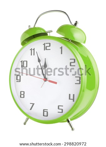 Old style green alarm clock isolated on white background - stock photo
