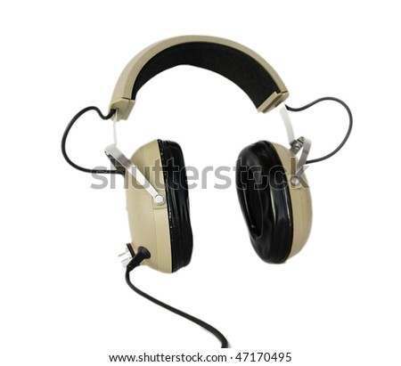 Old style headphones isolated on white - stock photo
