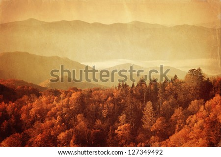 Old style image of Great Smoky Mountains National Park, Tennessee, USA - stock photo