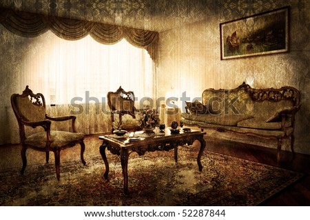 old style living room - stock photo