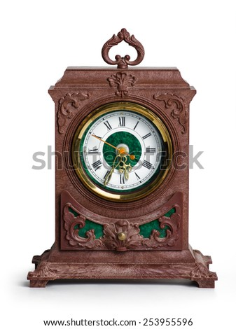 old style mantel clock  on white background - stock photo