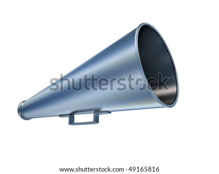 Old style megaphone over white - 3d render